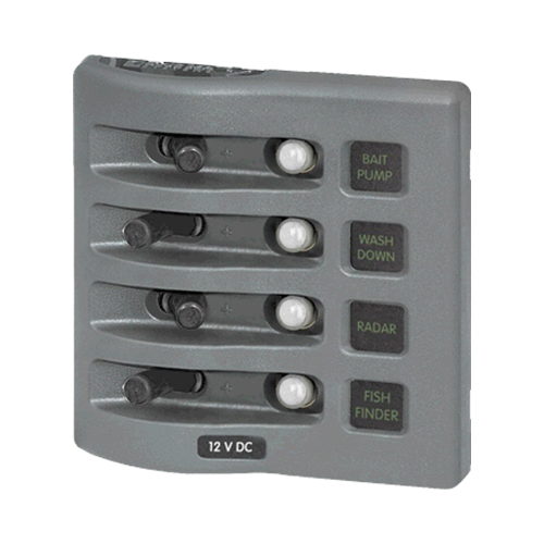 Sw Pnl, Toggle w/ Breakers, 4 Sw, Gray