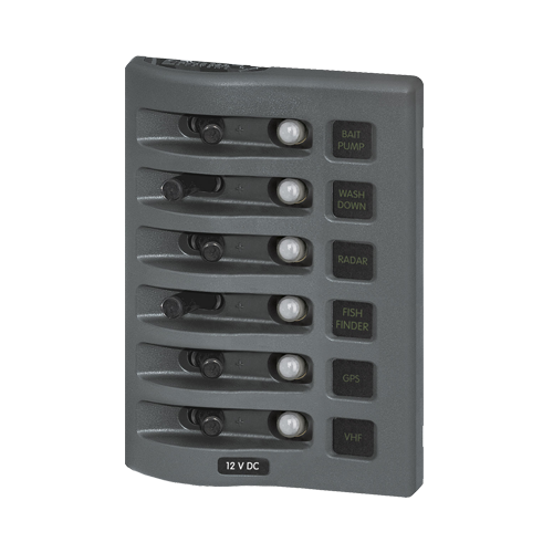 Switch Panel, WeatherDeck, 6 Pos., Gray