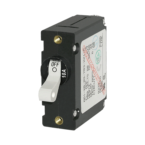 Breaker, A, 1 Pole Wht-Toggle AC/DC 10A