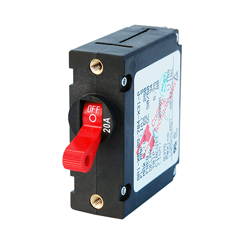 Breaker, A, 1 Pole Red-Toggle AC/DC 20A