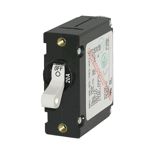 Breaker, A, 1 Pole Wht-Toggle AC/DC 20A