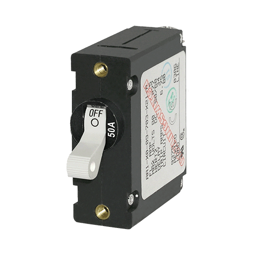 Breaker, A, 1 Pole Wht-Toggle AC/DC 50A