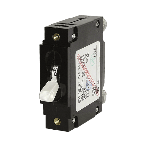 Breaker, C, 1 Pole Wht-Toggle AC/DC 15A