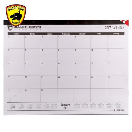 Guard Dog Bulletproof Desk/Wall Calendar - NIJ lllA