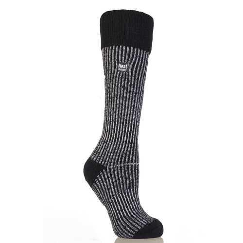Heat Holder Sock Boot Ladies - Mid Brown / Cream