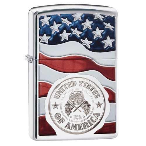 Zippo American Stamp on Flag Lighter