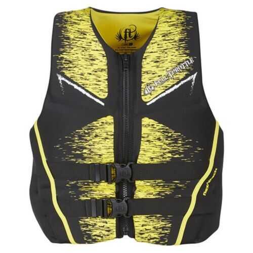 Full Throttle Mens Life Jacket Rapid-Dry Flex-Back Yellow-M