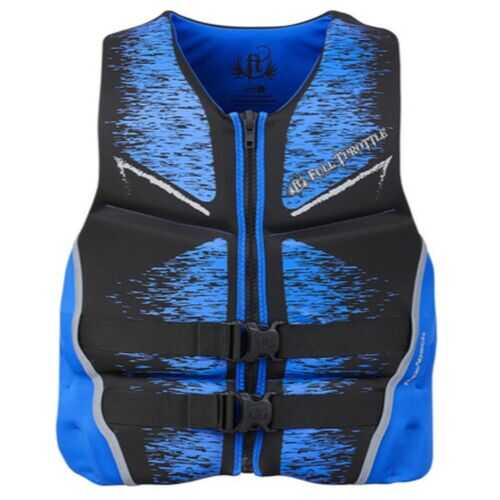 Full Throttle Mens Life Jacket Rapid-Dry Flex-Back-Blue-XL