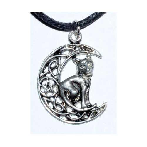Celtic Moon & Cat amulet