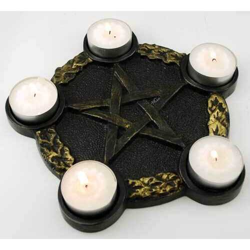Pentagram Candle Holder altar plate