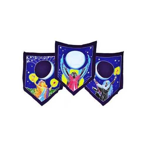 "Triple Moon Goddess Prayer Flags 60"" x  29"""