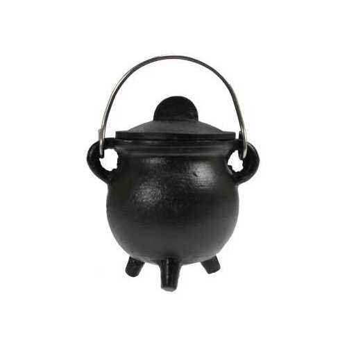 Plain cast iron cauldron  w/ lid 3""