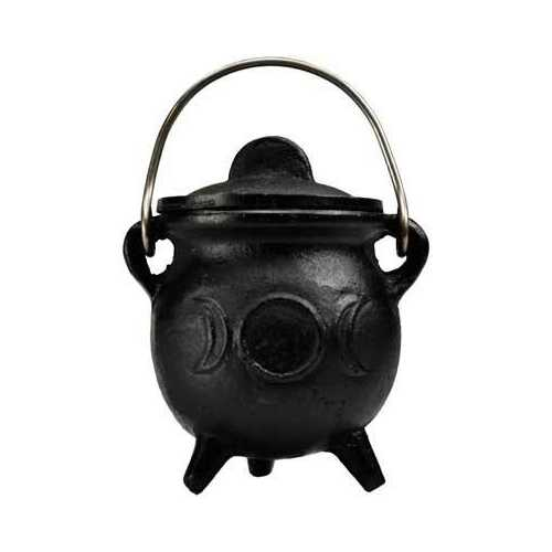 "3"" Triple Moon cast iron cauldron w/ lid"
