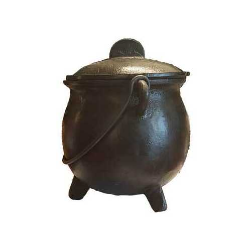 "8"" cast iron cauldron w/ lid"