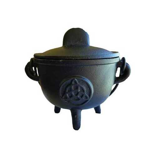"5"" Cast iron cauldron w/ lid Triquetra"