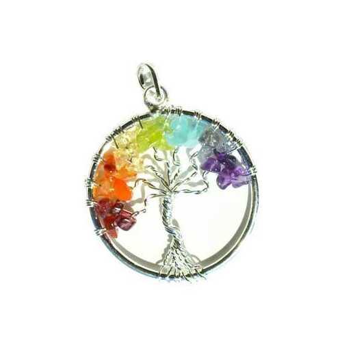 7 Chakra Tree of Life pendant silver tone