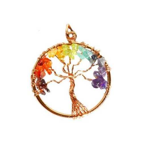 7 Chakra Tree of Life pendant copper color