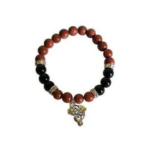 8mm Gold Sandstone (synthetic)/ Black Onyx with Fish bracelet