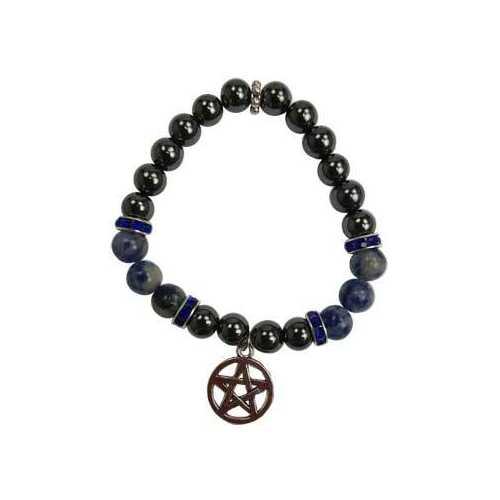 8mm Hematite (man-made)/ Sodalite with Pentagram