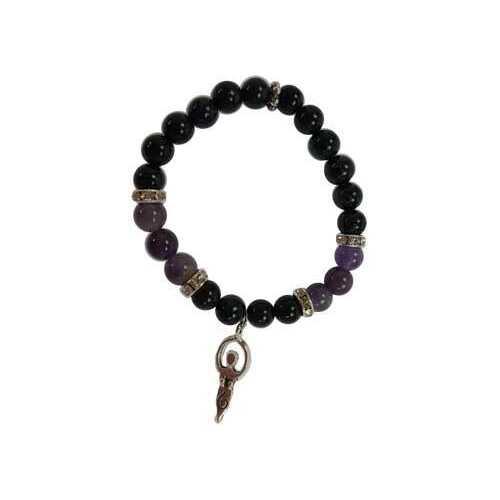 8mm Purple Goldstone/ Amethyst with Goddess