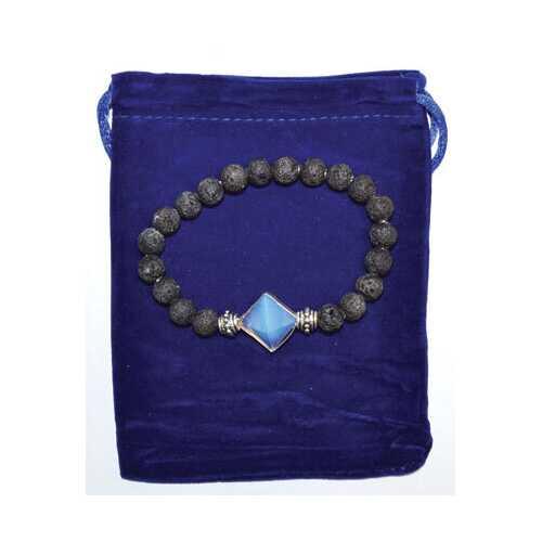 8mm Lava & Opalite Pyramid bracelet