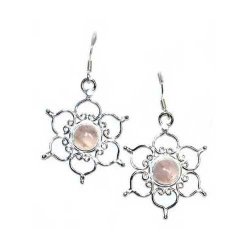 "1.25"" Lotus rose quartz earrings"