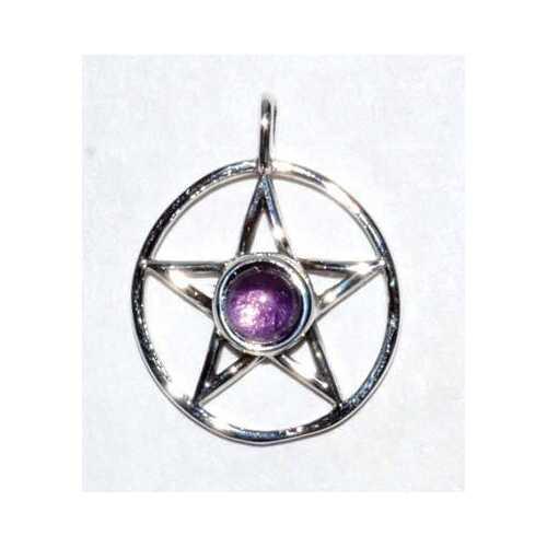 """11/16"""" Pentagram Amethyst sterling"""
