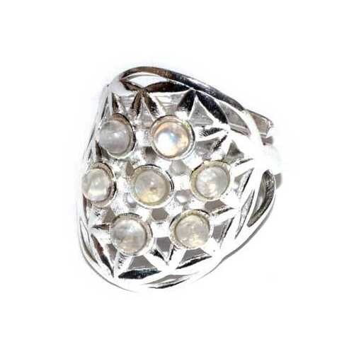 20mm Flower of Life Moonstone adjustable ring