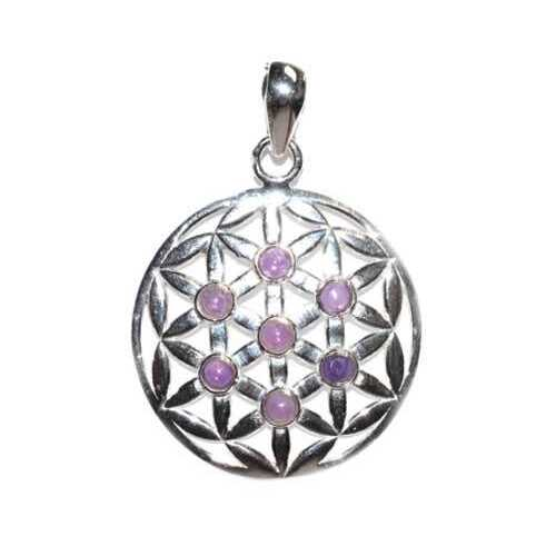 30mm Flower of Life amethyst pendant