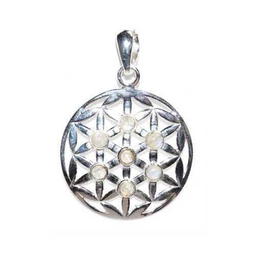 30mm Flower of Life rainbow moonstone pendant