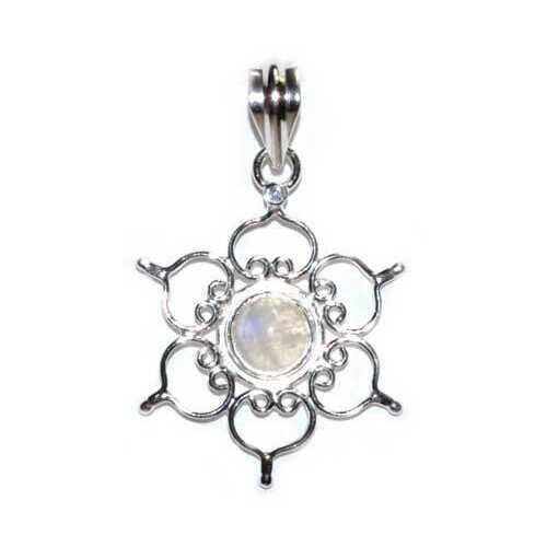 """1.25"""" Lotus rainbow moonstone pendant"""