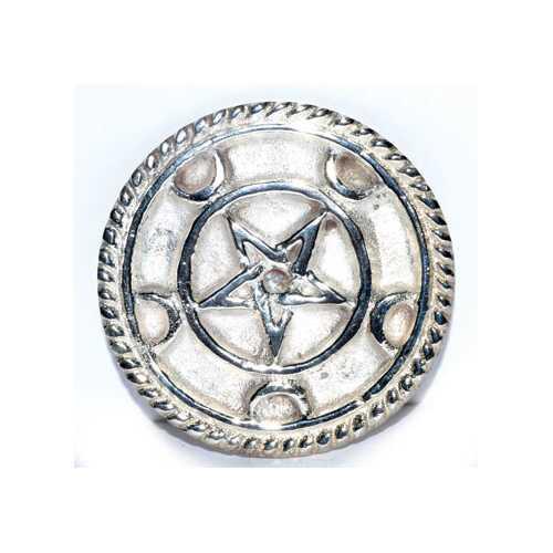 "3"" Silver Plated Brass Pentagram altar tile"