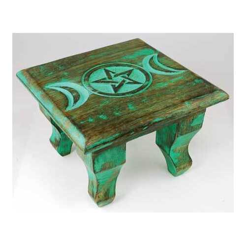 Antiqued Triple Moon altar table 6""