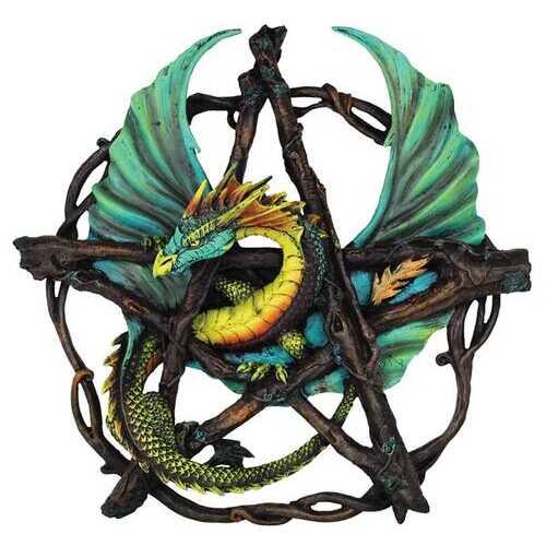 "Forest Pentagram Dragon Wall Plaque 13"""