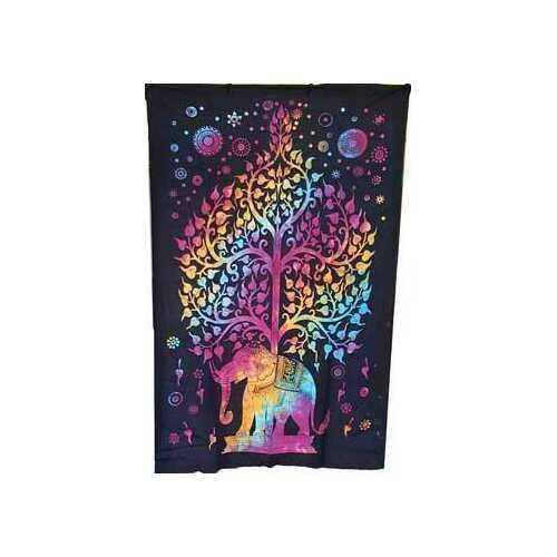 """54"""" x 86"""" Elephant Tree tapestry (tie dye)"""