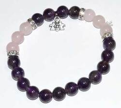 8mm Amethyst & Rose Qtz/ Lotus