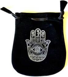 "Hand of Compassion Velveteen Black Bag  5"""