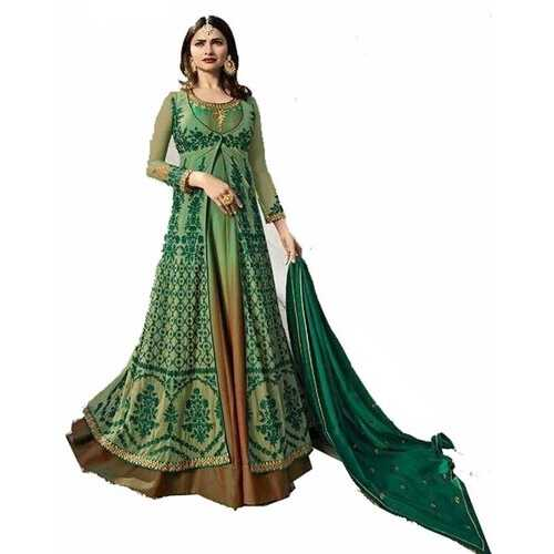 Women's Ethnic Gown Light Green with Embroidery
