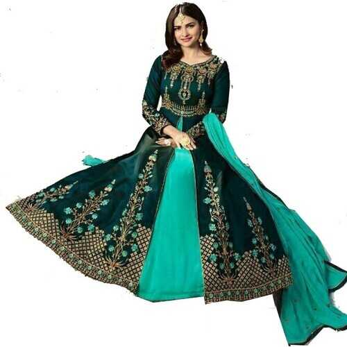 Women's Ethnic Gown Dark Green with Embroidery