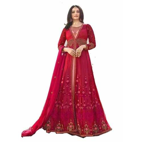 Bridal Gown Red Semi Stitched with Embroidery