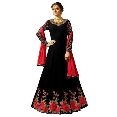 Women's Ethnic Gown Dark Black with Embroidery