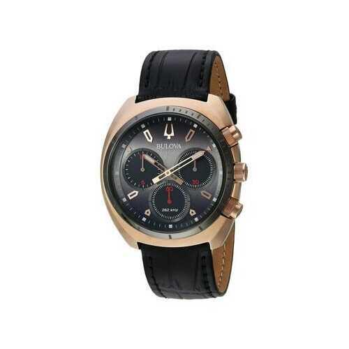 Bulova 98A156 CURV Gold Case Grey Dial Black Leather Chronograph Men's Strap Watch