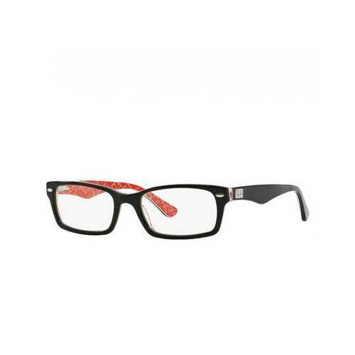 Ray-Ban RB5206-2479 Black Red Rectangular Acetate Unisex Eyeglasses