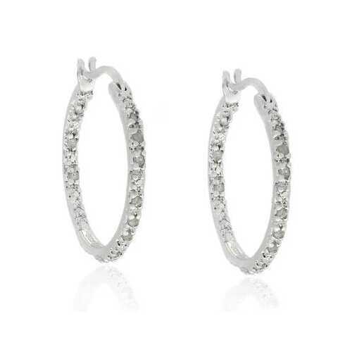TDW 0.25 ct. Diamond Sterling Silver Hoop Earrings