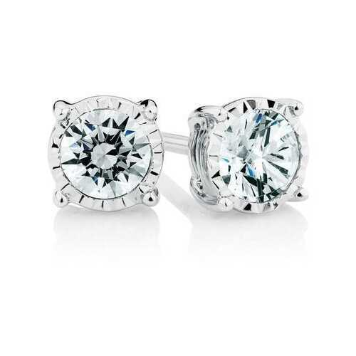 1/4 CT. T.W. Round Diamond Four Prong Solitaire Stud Sterling Silver Earrings
