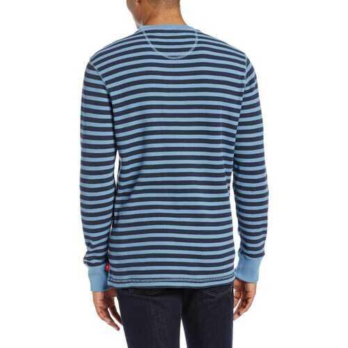 IZOD Men's Thermal Stripe Waffle Crew Neck Long Sleeve Shirt