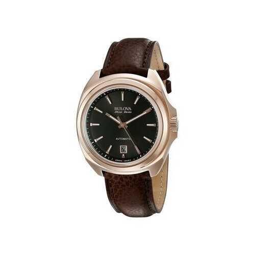Bulova 64B126 Accu Swiss Accutron Telc Automatic Black Dial Men's Leather Watch