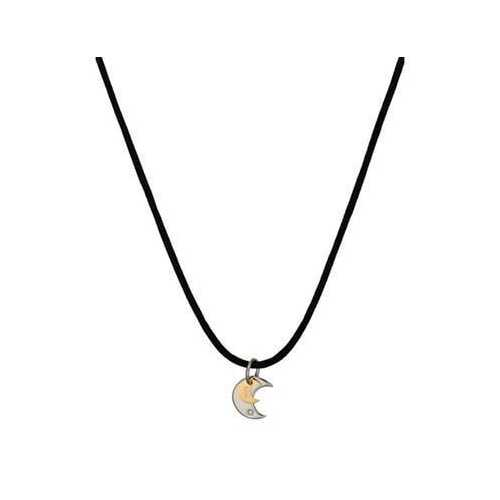 """BLISS by Damiani """"Twice"""" Stainless Steel with 18K Yellow Gold Diamond Necklace"""