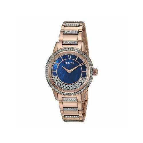 Bulova 98L247 Turnstyle Rosegold Tone Crystal Accent Blue Mother of Pearl Dial Women's Watch