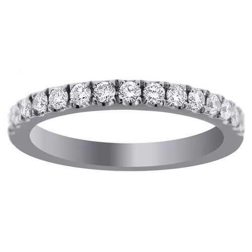 14K Gold High Clarity .58ctw Round Cut Micro Pave Half Eternity 15 Diamond Ring 2.5mm Wedding Band